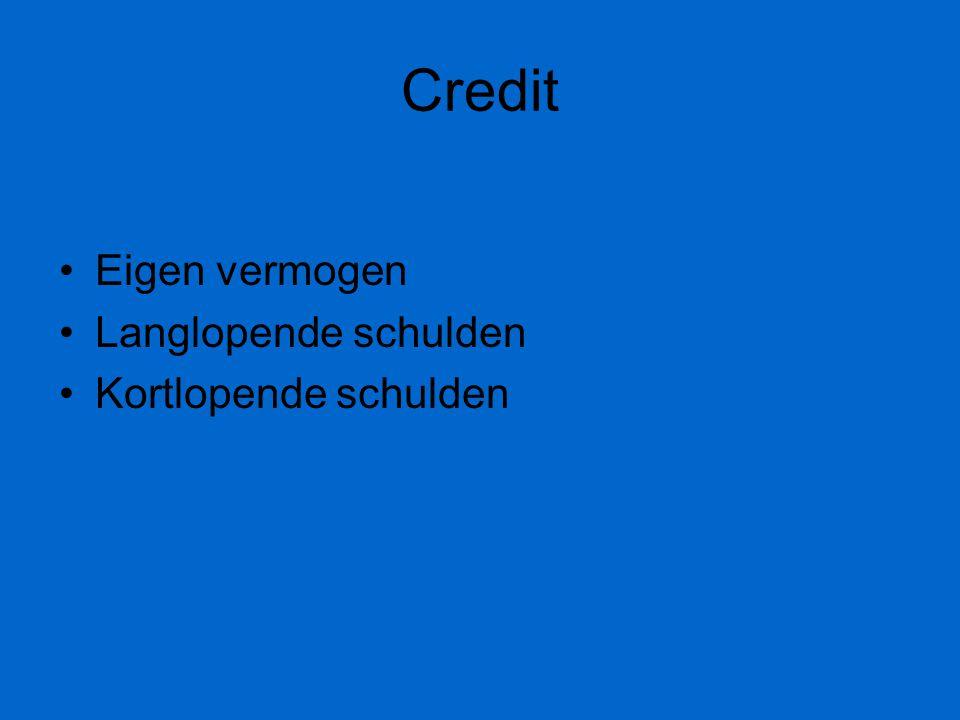 Credit Eigen vermogen Langlopende schulden Kortlopende schulden