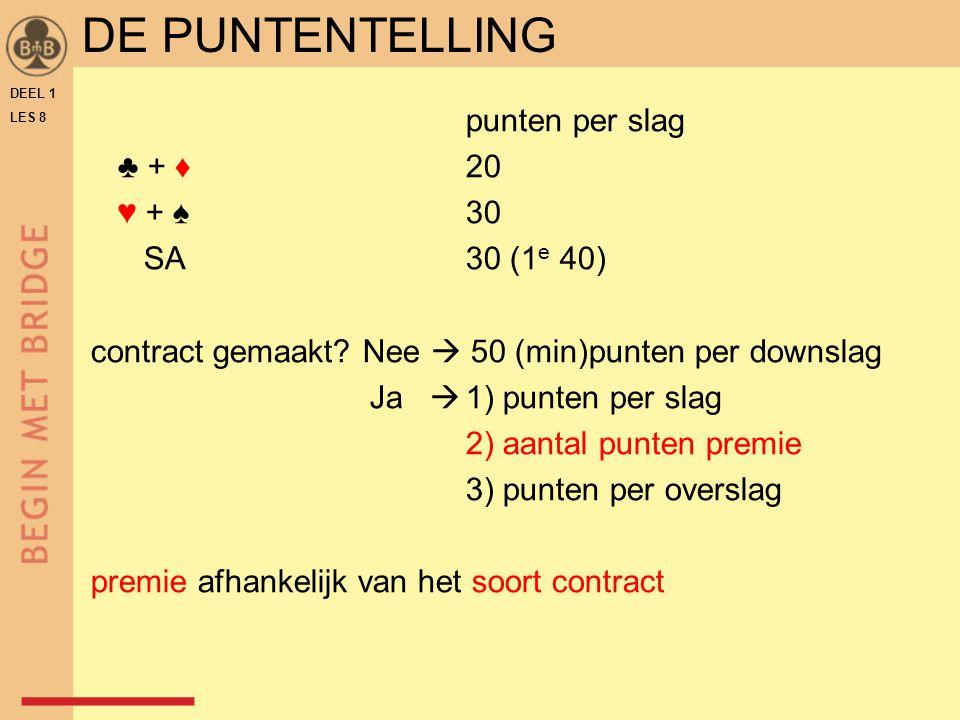 DE PUNTENTELLING punten per slag ♣ + ♦ 20 ♥ + ♠ 30 SA 30 (1e 40)