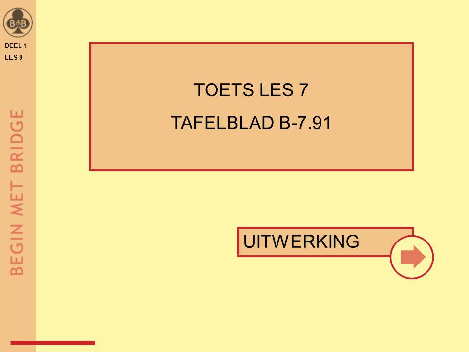 DEEL 1 LES 8 TOETS LES 7 TAFELBLAD B-7.91 UITWERKING