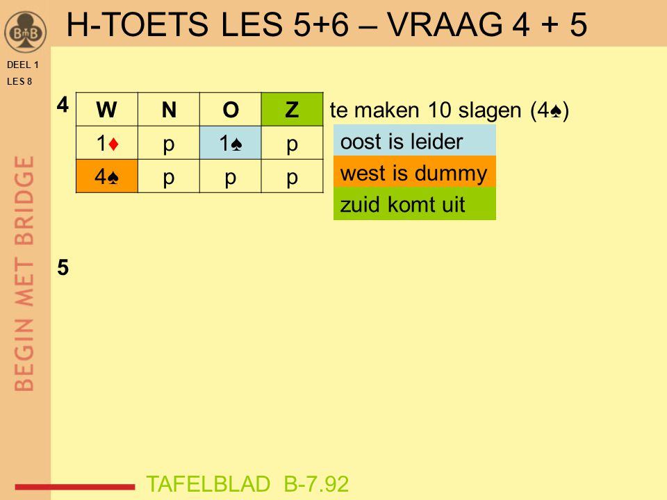 H-TOETS LES 5+6 – VRAAG 4 + 5 4 W N O Z 1♦ p 1♠ 4♠