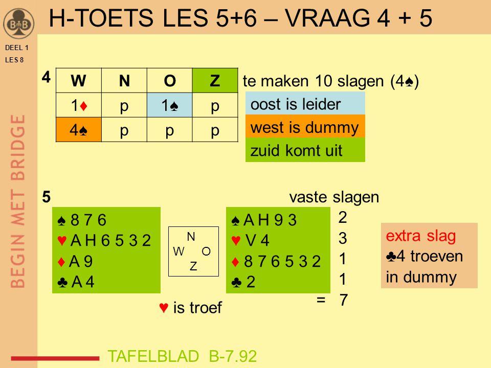 H-TOETS LES 5+6 – VRAAG 4 + 5 ♥ is troef 4 W N O Z 1♦ p 1♠ 4♠