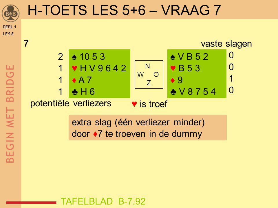 H-TOETS LES 5+6 – VRAAG 7 ♥ is troef 7 vaste slagen 1 2 1