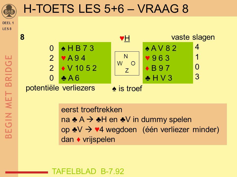 H-TOETS LES 5+6 – VRAAG 8 ♥H ♠ is troef 8 vaste slagen 4 1 3 2
