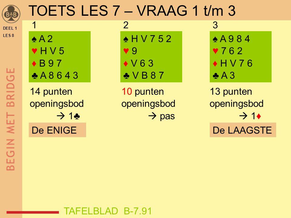 TOETS LES 7 – VRAAG 1 t/m 3 1 2 3 ♠ A 2 ♥ H V 5 ♦ B 9 7 ♣ A 8 6 4 3