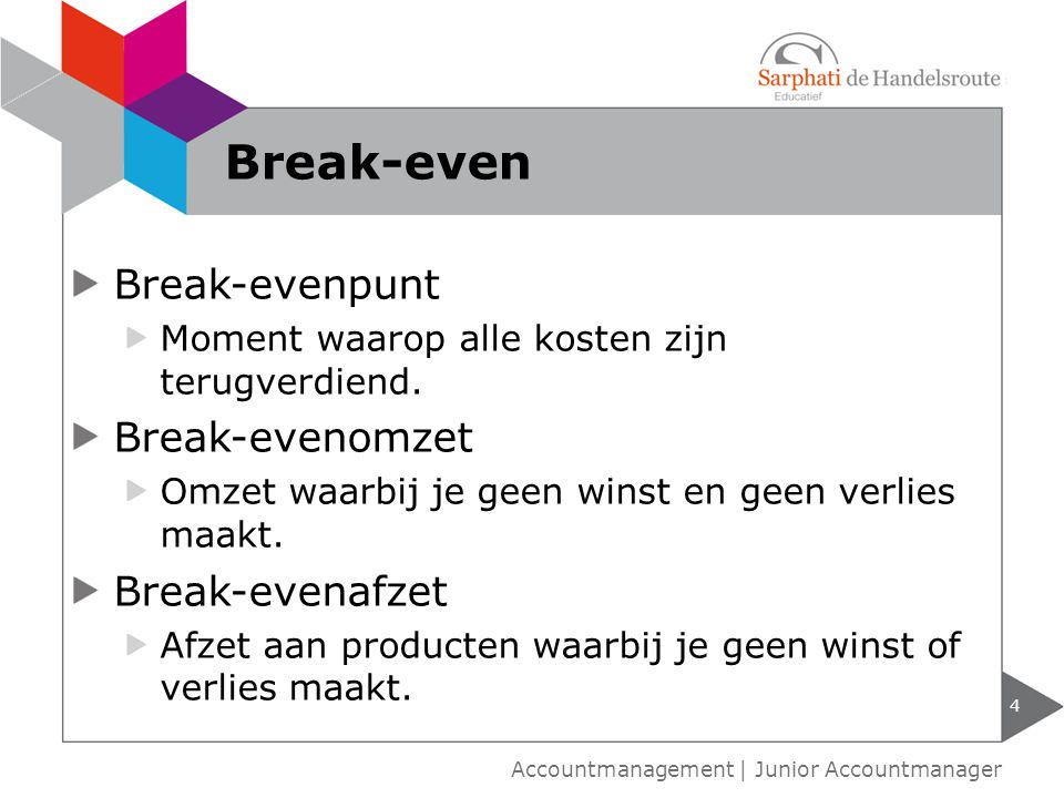 Break-even Break-evenpunt Break-evenomzet Break-evenafzet
