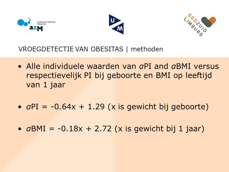 αPI = -0.64x + 1.29 (x is gewicht bij geboorte)