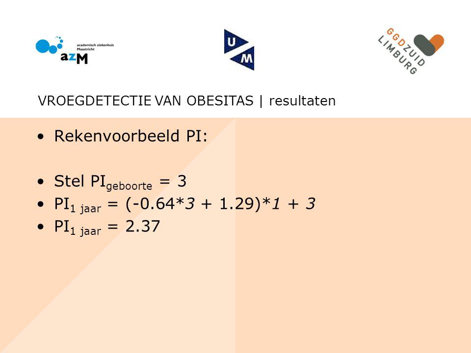 Rekenvoorbeeld PI: Stel PIgeboorte = 3