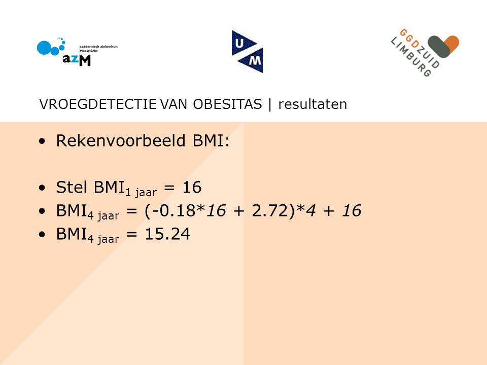 Rekenvoorbeeld BMI: Stel BMI1 jaar = 16