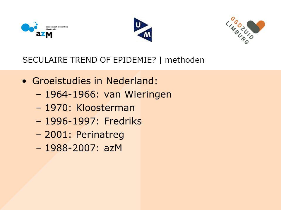 Groeistudies in Nederland: 1964-1966: van Wieringen 1970: Kloosterman