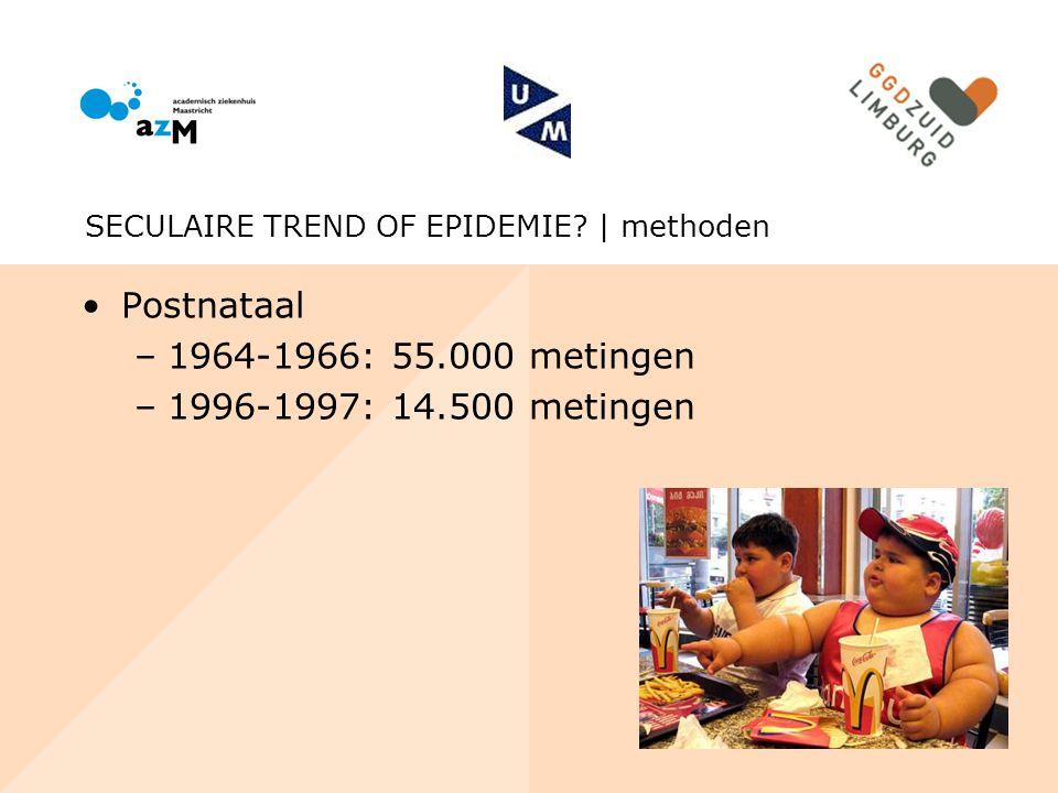 Postnataal 1964-1966: 55.000 metingen 1996-1997: 14.500 metingen