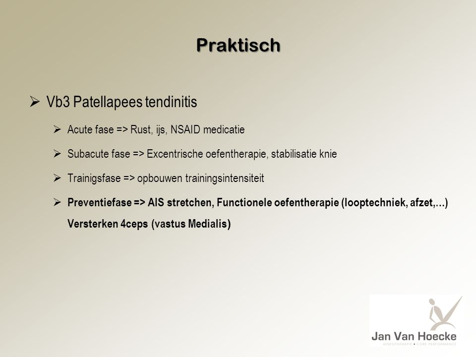 Praktisch Vb3 Patellapees tendinitis