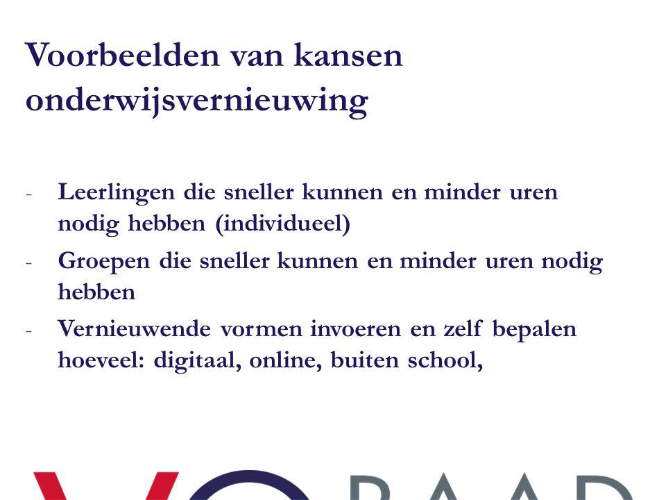 Voorbeelden van kansen onderwijsvernieuwing