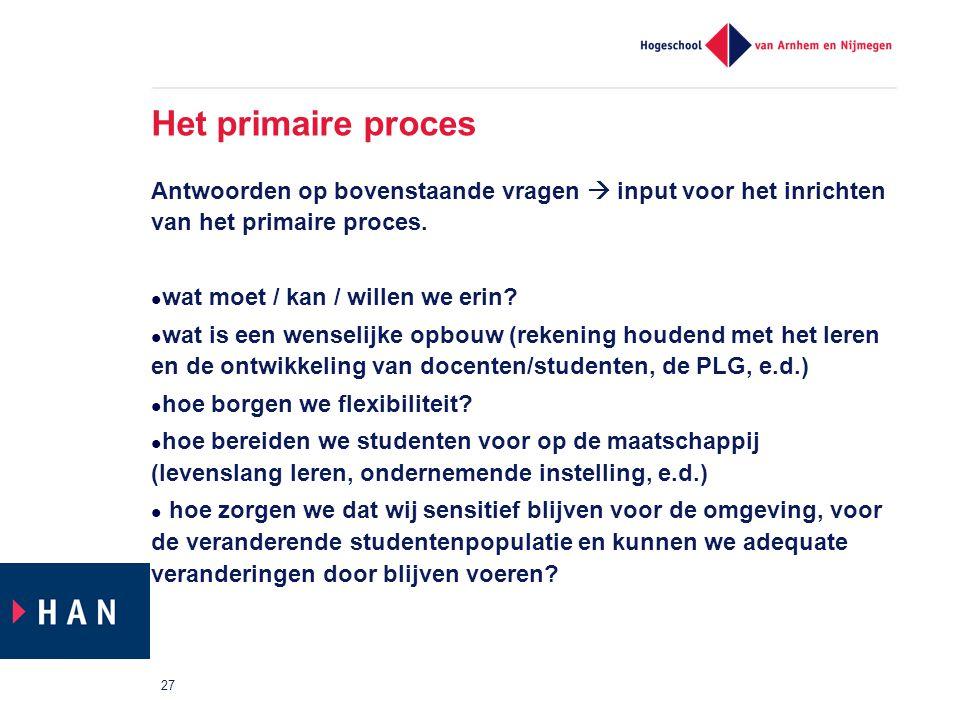 Het primaire proces Antwoorden op bovenstaande vragen  input voor het inrichten van het primaire proces.