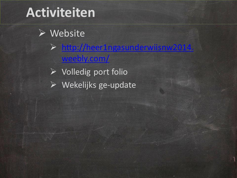 Activiteiten Website http://heer1ngasunderwiisnw2014.weebly.com/