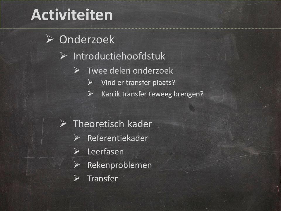 Activiteiten Onderzoek Introductiehoofdstuk Theoretisch kader