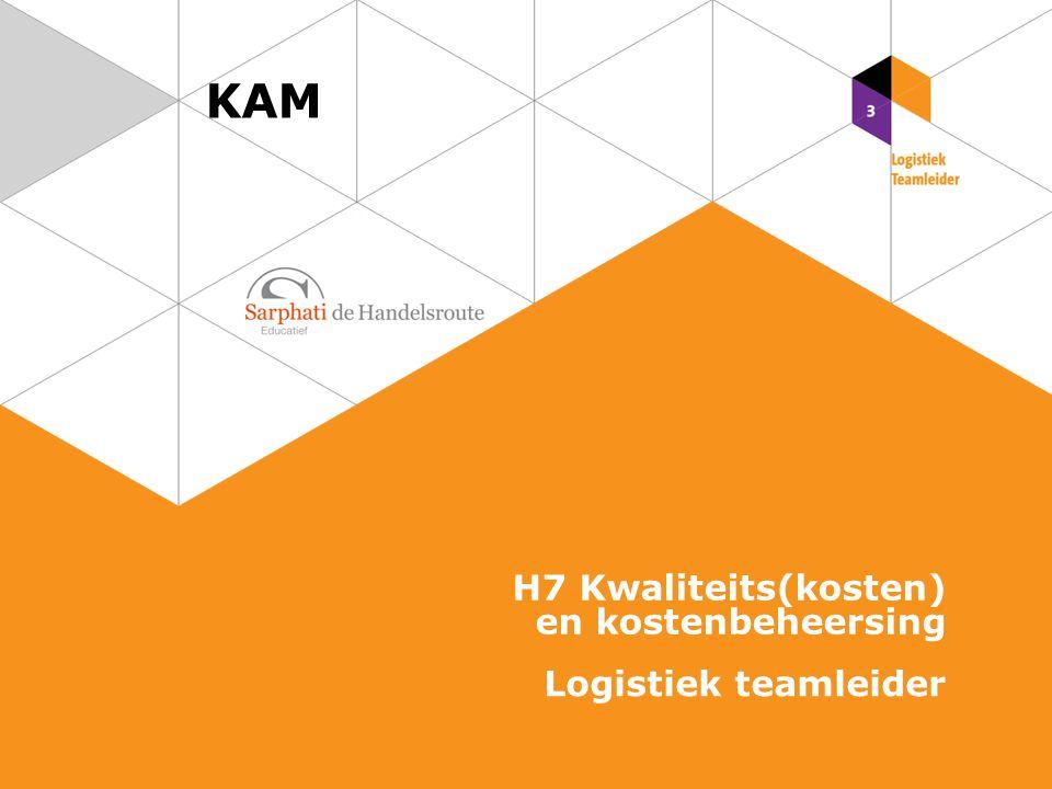 KAM H7 Kwaliteits(kosten) en kostenbeheersing Logistiek teamleider