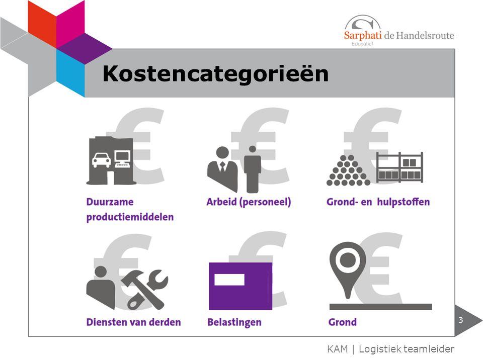 Kostencategorieën KAM | Logistiek teamleider