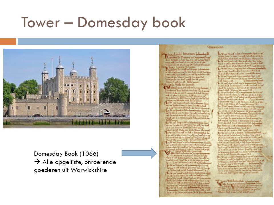 Tower – Domesday book Domesday Book (1066)