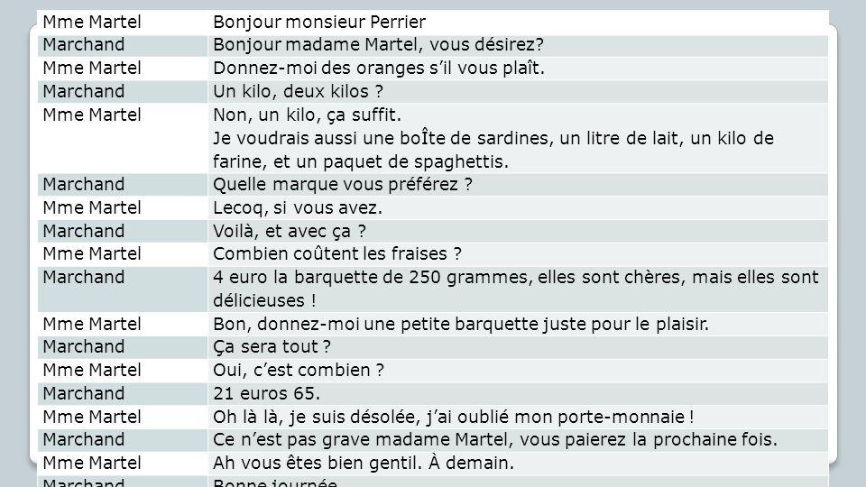 Mme Martel Bonjour monsieur Perrier, Marchand. Bonjour madame Martel, vous désirez Donnez-moi des oranges s'il vous plaît.