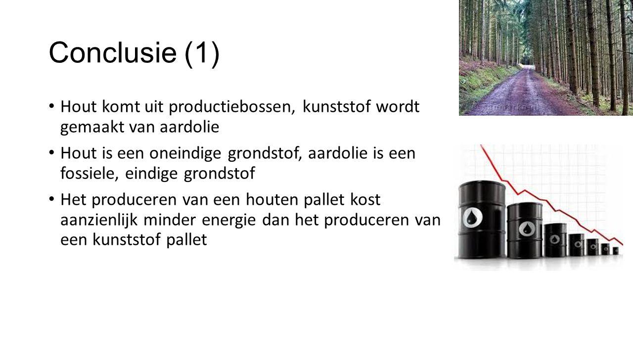 Conclusie (1) Hout komt uit productiebossen, kunststof wordt gemaakt van aardolie.