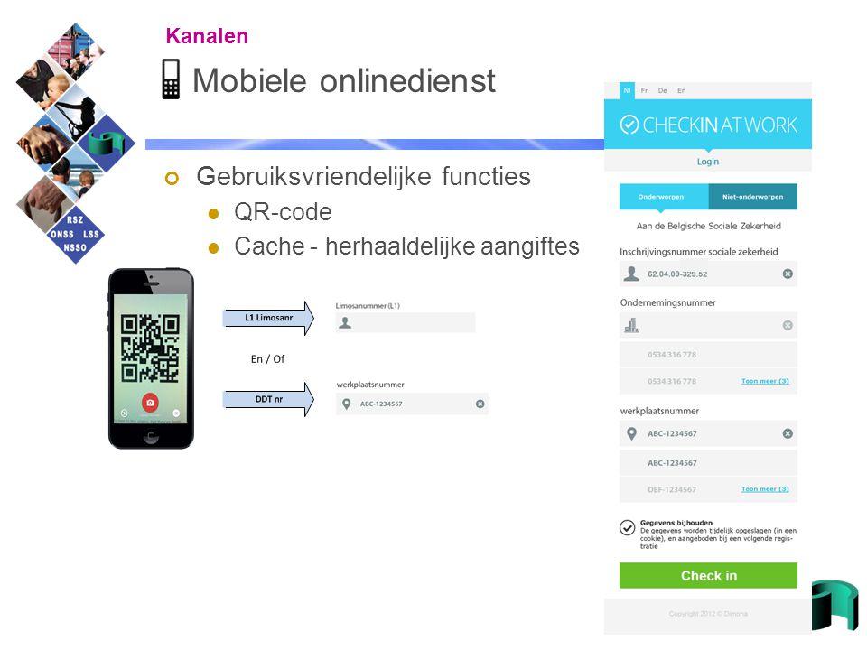 Mobiele onlinedienst Gebruiksvriendelijke functies QR-code