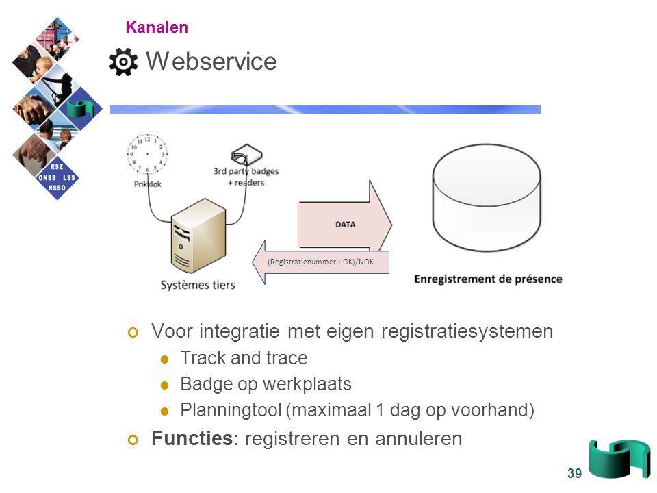 Webservice Voor integratie met eigen registratiesystemen