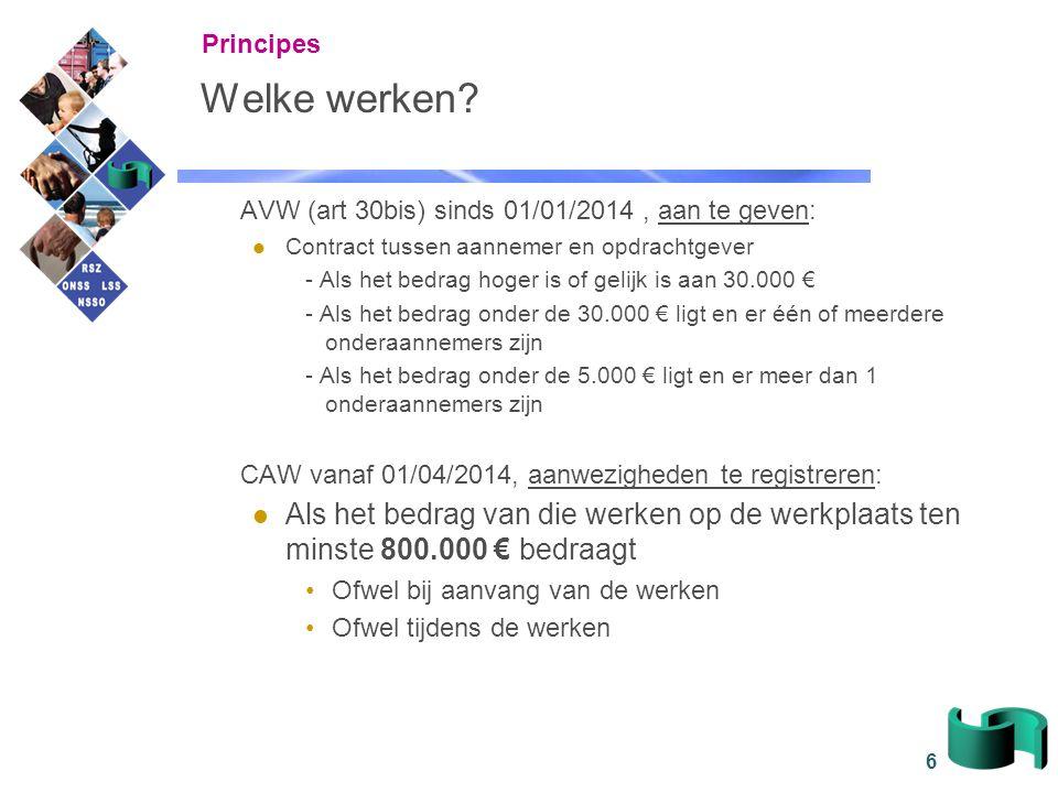 Principes Welke werken AVW (art 30bis) sinds 01/01/2014 , aan te geven: Contract tussen aannemer en opdrachtgever.