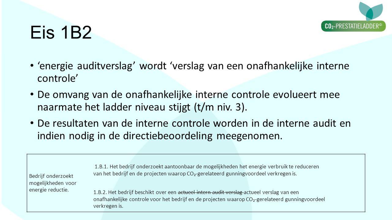 Eis 1B2 'energie auditverslag' wordt 'verslag van een onafhankelijke interne controle'