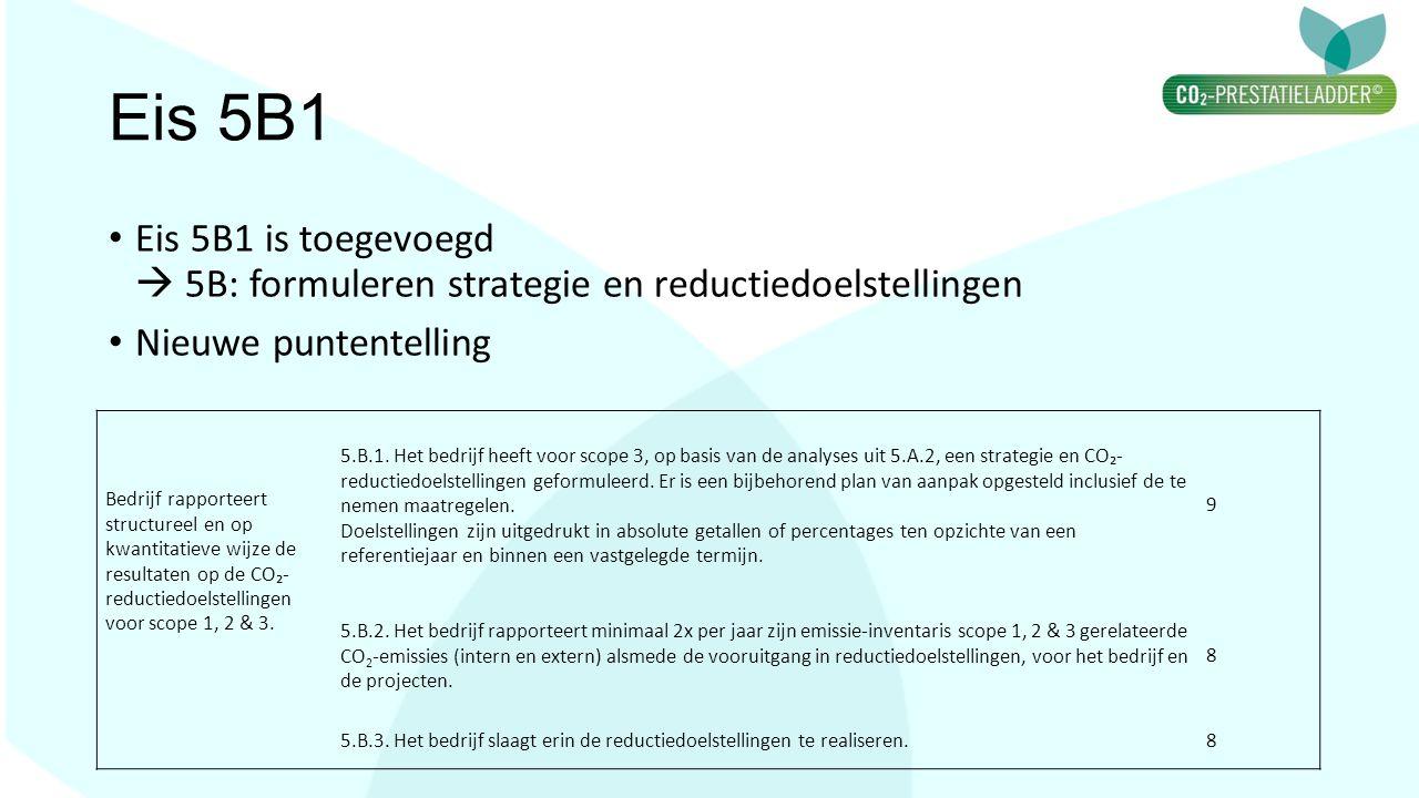 Eis 5B1 Eis 5B1 is toegevoegd  5B: formuleren strategie en reductiedoelstellingen. Nieuwe puntentelling.