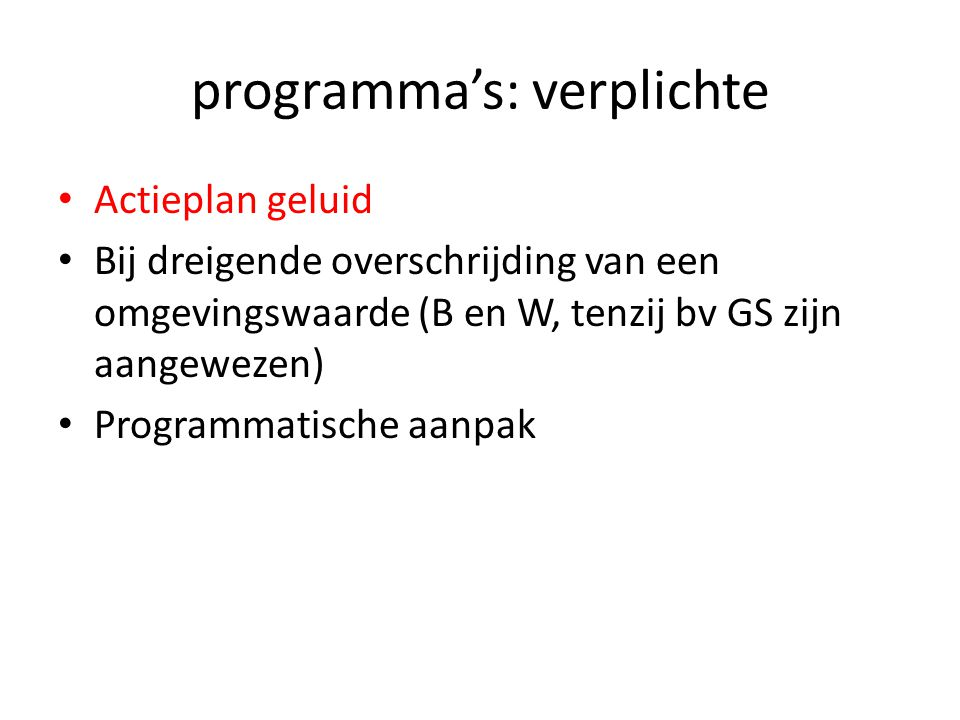programma's: verplichte