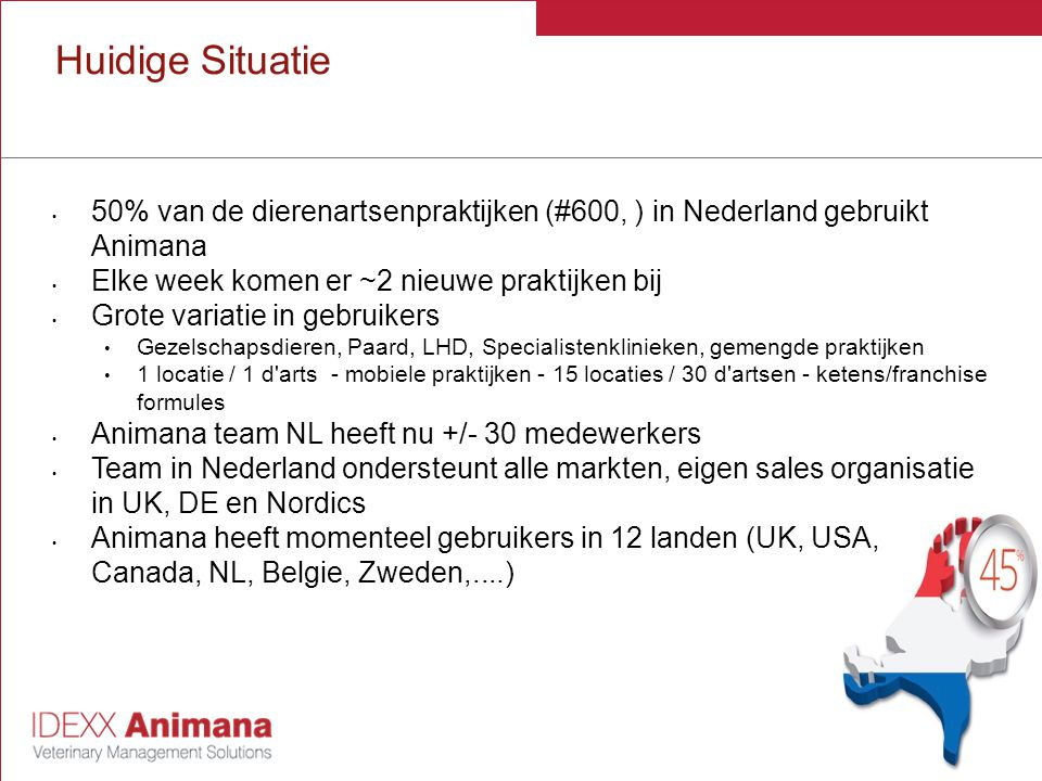 Huidige Situatie 50% van de dierenartsenpraktijken (#600, ) in Nederland gebruikt Animana. Elke week komen er ~2 nieuwe praktijken bij.