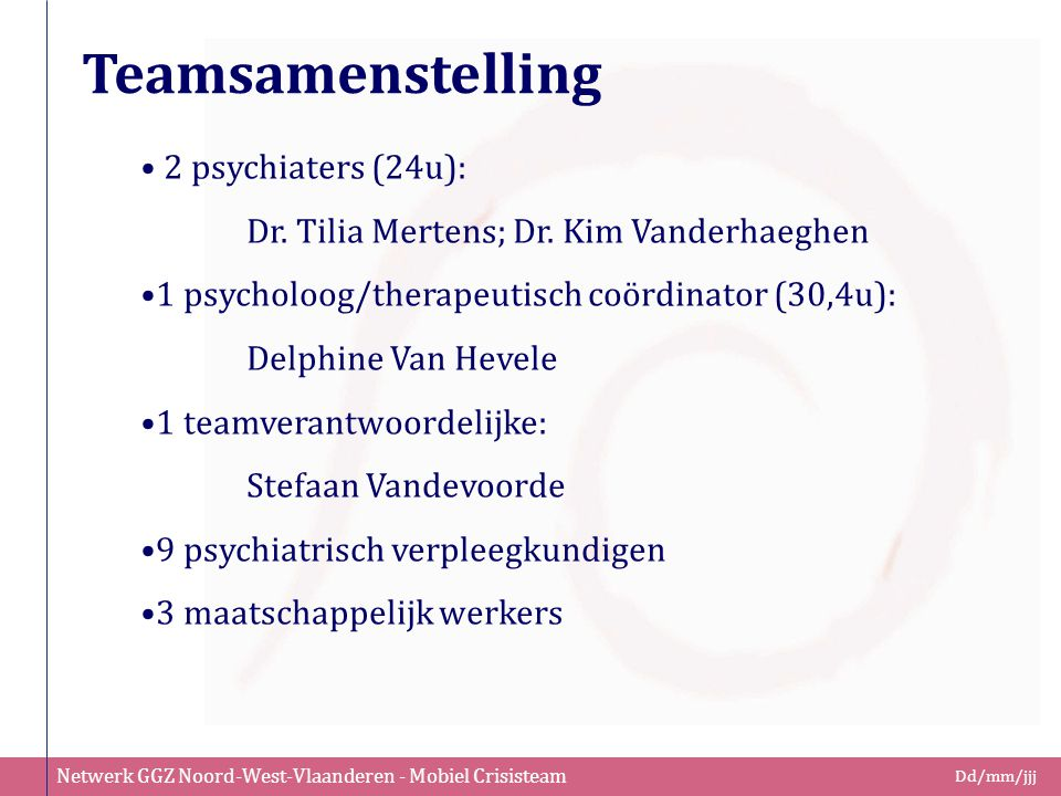 Teamsamenstelling 2 psychiaters (24u):