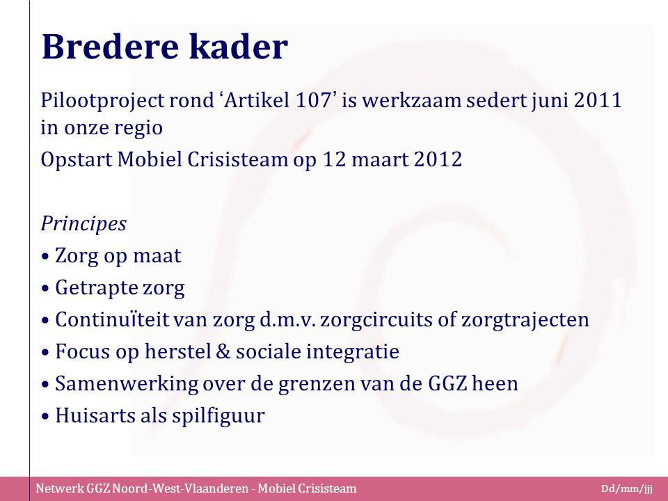 Bredere kader Pilootproject rond 'Artikel 107' is werkzaam sedert juni 2011 in onze regio. Opstart Mobiel Crisisteam op 12 maart 2012.