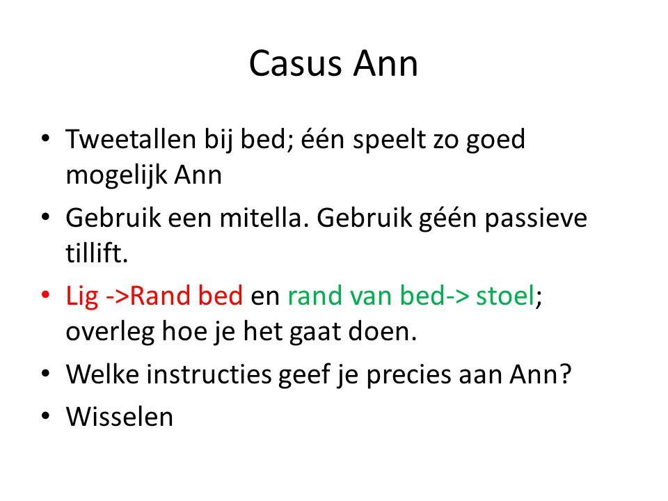 Casus Ann Tweetallen bij bed; één speelt zo goed mogelijk Ann