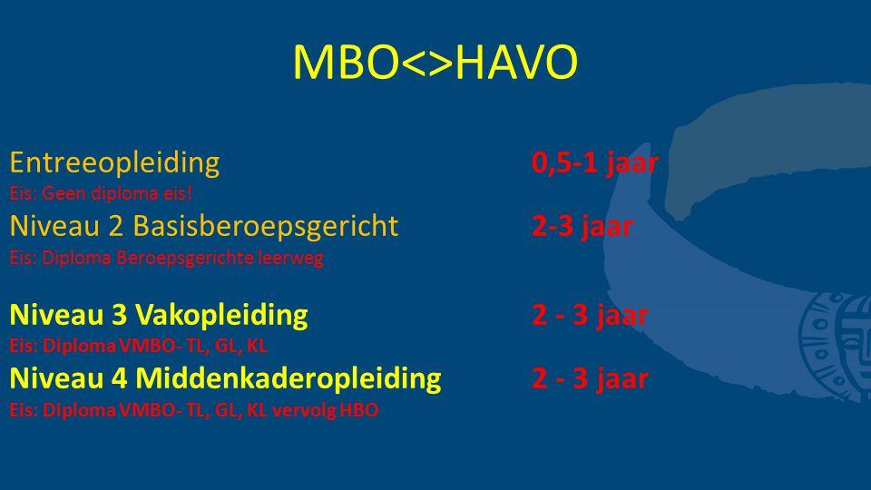 MBO<>HAVO Entreeopleiding 0,5-1 jaar