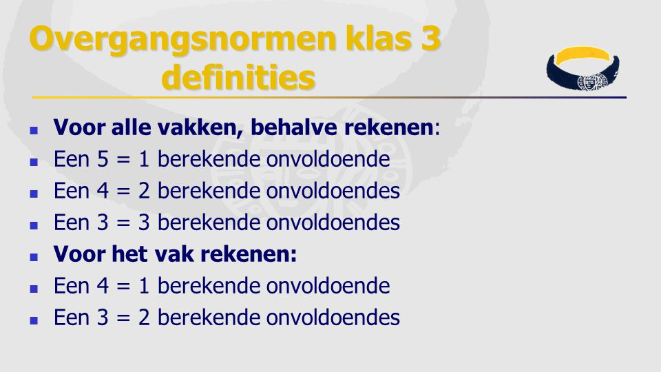 Overgangsnormen klas 3 definities