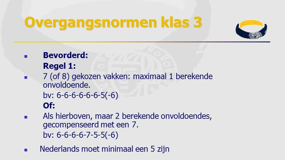 Overgangsnormen klas 3 Bevorderd: Regel 1: