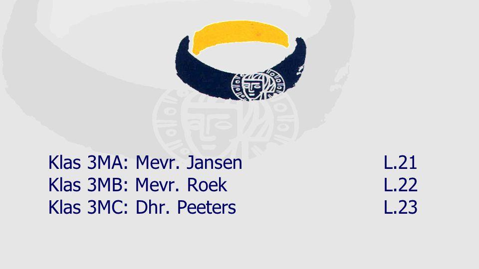 Klas 3MA: Mevr. Jansen L.21 Klas 3MB: Mevr. Roek L.22 Klas 3MC: Dhr. Peeters L.23