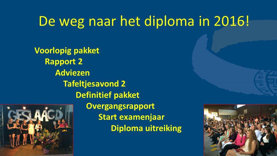 De weg naar het diploma in 2016!