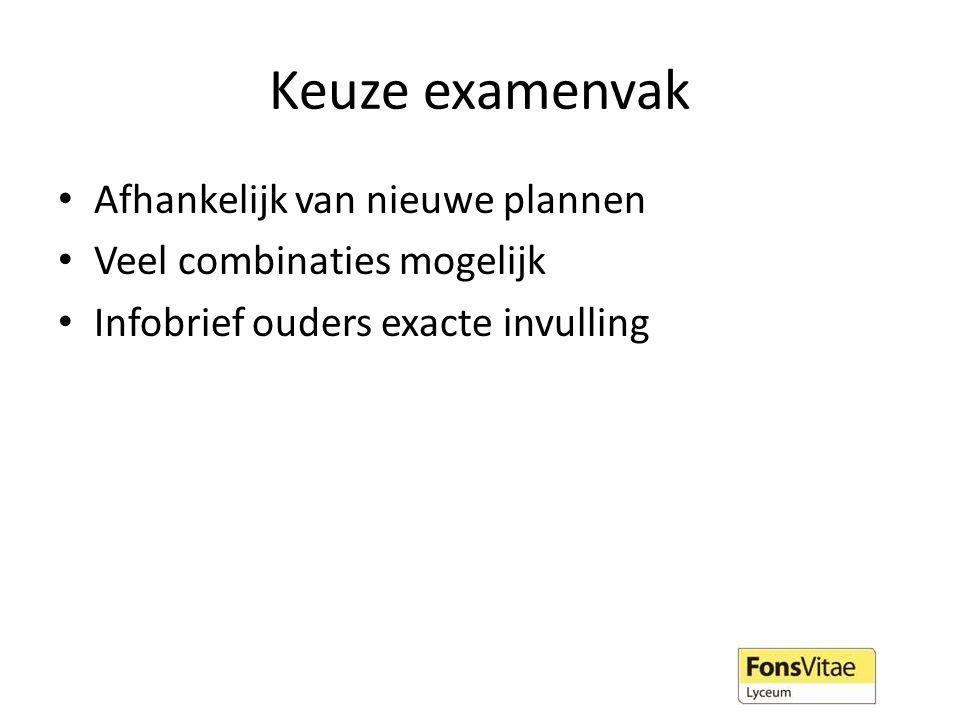 Keuze examenvak Afhankelijk van nieuwe plannen