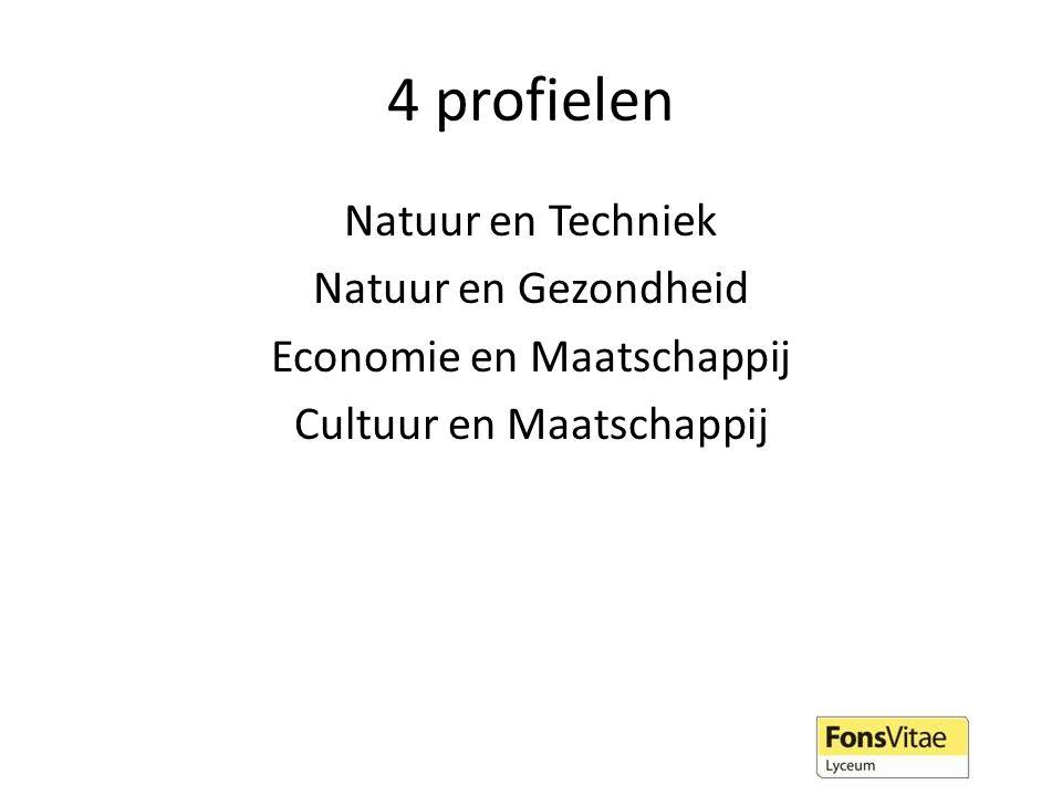 4 profielen Natuur en Techniek Natuur en Gezondheid Economie en Maatschappij Cultuur en Maatschappij