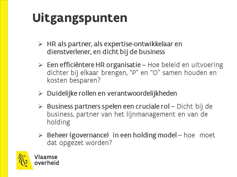 Uitgangspunten HR als partner, als expertise-ontwikkelaar en dienstverlener, en dicht bij de business.