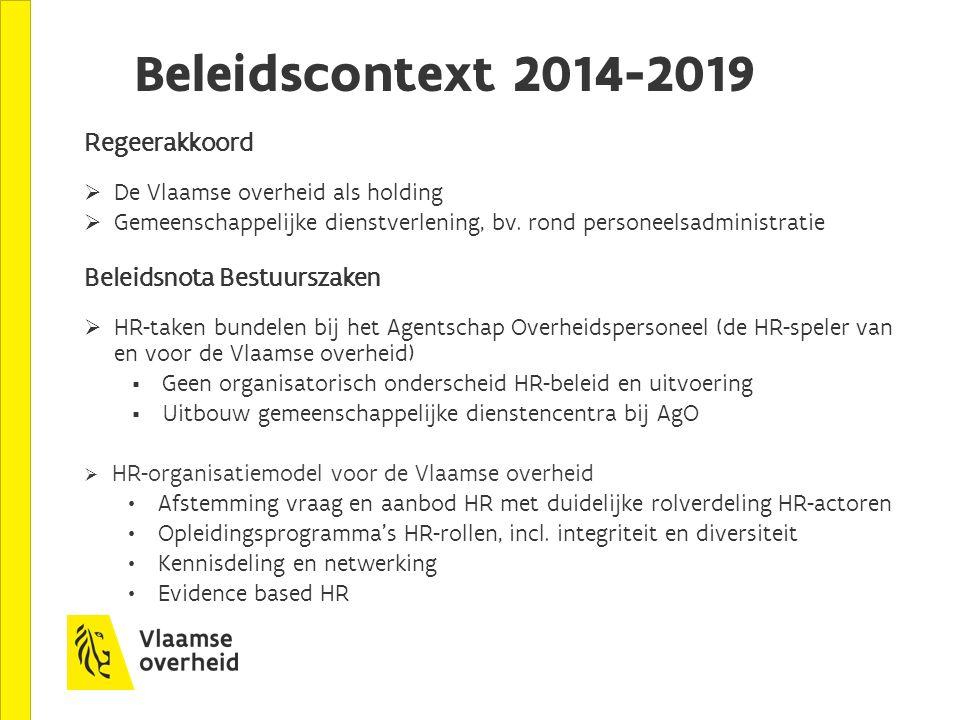 Beleidscontext 2014-2019 Regeerakkoord Beleidsnota Bestuurszaken