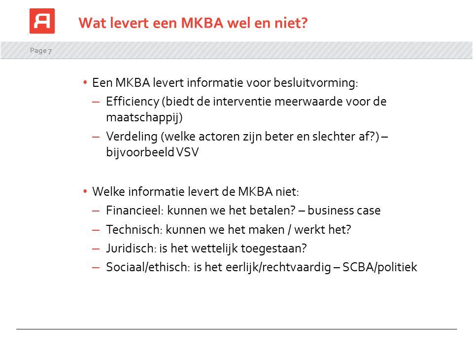 Wat levert een MKBA wel en niet