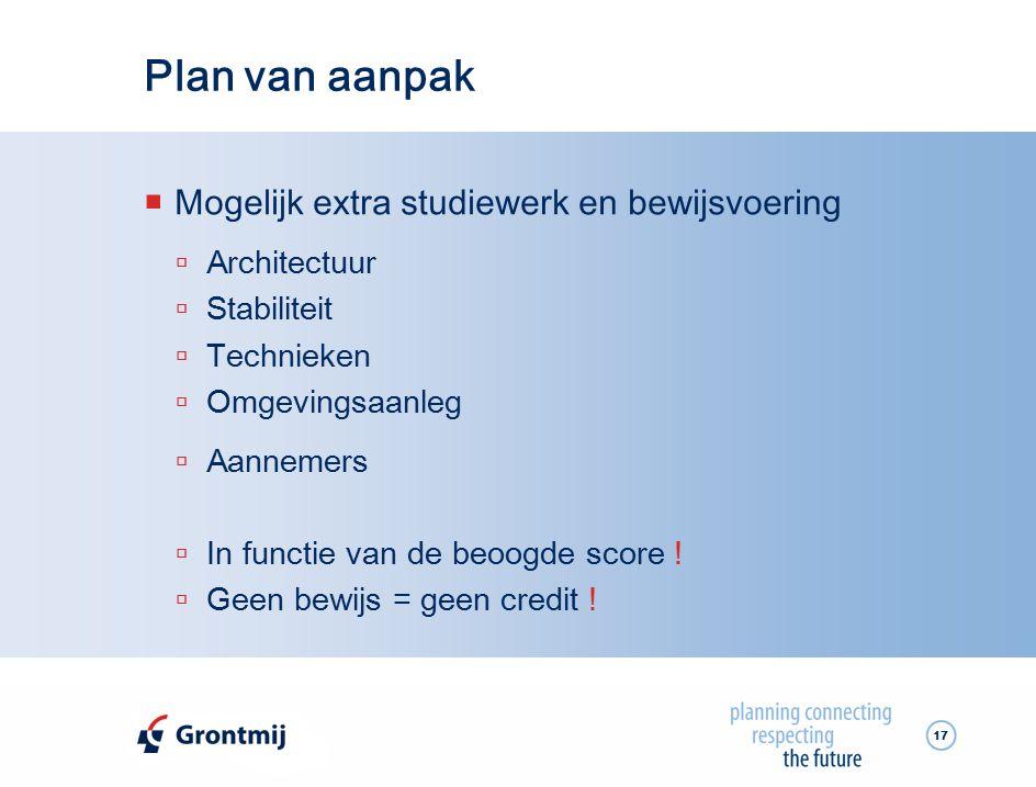 Plan van aanpak Mogelijk extra studiewerk en bewijsvoering