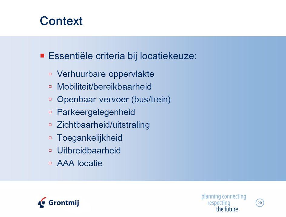 Context Essentiële criteria bij locatiekeuze: Verhuurbare oppervlakte