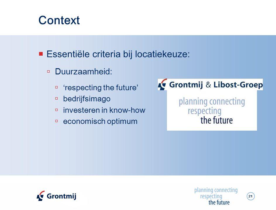 Context Essentiële criteria bij locatiekeuze: Duurzaamheid: