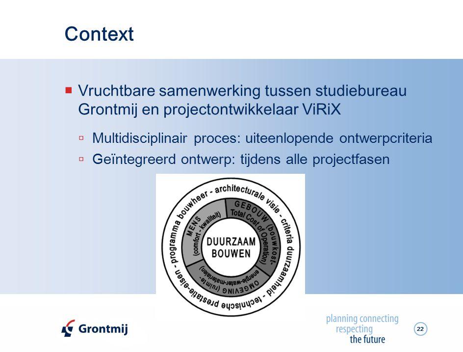 Context Vruchtbare samenwerking tussen studiebureau Grontmij en projectontwikkelaar ViRiX. Multidisciplinair proces: uiteenlopende ontwerpcriteria.