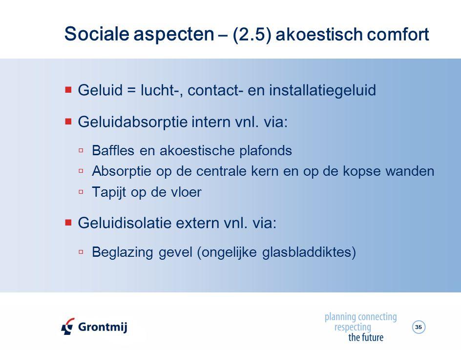 Sociale aspecten – (2.5) akoestisch comfort