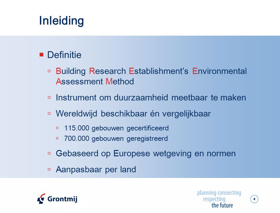 Inleiding Definitie. Building Research Establishment's Environmental Assessment Method. Instrument om duurzaamheid meetbaar te maken.
